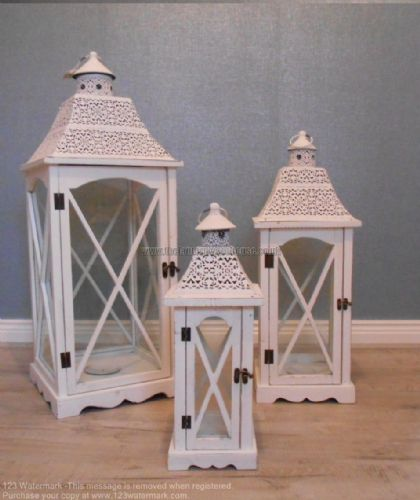 Wooden Lantern Patterned Top (Set Of 3)